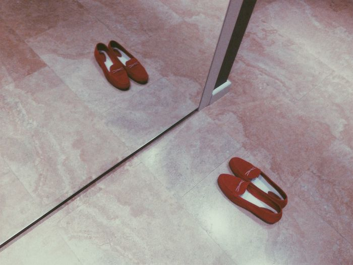 Absence Compatibility Day Fashion Flip-flop Flooring High Angle View High Heels Indoors  No People Pair Personal Accessory Red Sandal Shoe Slipper  Still Life Tile Tiled Floor Travel 50 Ways Of Seeing: Gratitude The Minimalist - 2019 EyeEm Awards