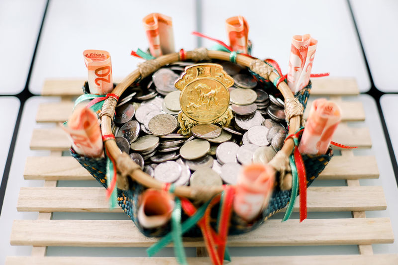 High angle view of decoration on table