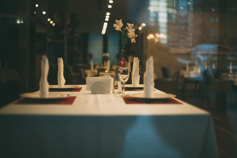 Close-up of place setting on table at restaurant