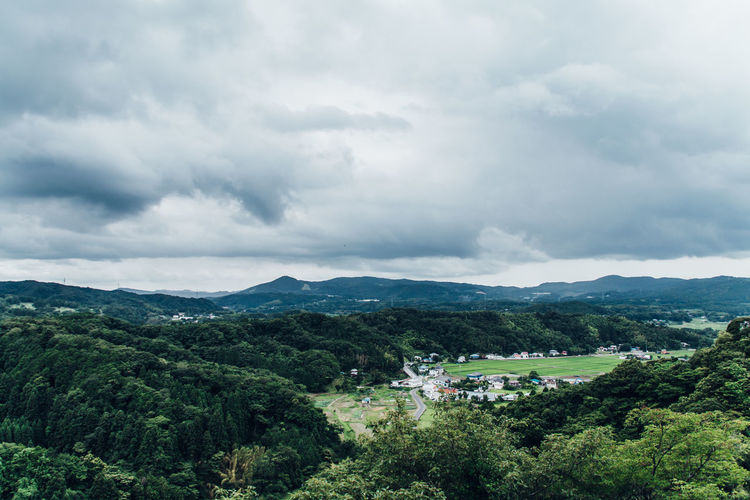 Drastic Edit Japan Lovers Edge Of The World The Week On EyeEm EyeEm Nature Lover Atmospheric Mood Beauty In Nature Clouds And Sky Day Green Color High Angle View Landscape Mountain Mountain Range Nature Village Outdoors Scenics Sky Tranquil Scene Tranquility Tree Mountains Skyline Japan Lost In The Landscape Go Higher