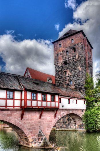 Bavaria Henkersteg Middle Franonia Nuremberg Old Town Architecture Bridge Covered Bride Franconia Tower