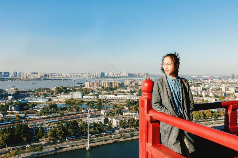 南京 nanking Nanking 南京 LongRiver 长江 EyeEm Selects City Cityscape Clear Sky Full Length Warm Clothing Senior Adult Skyscraper Happiness