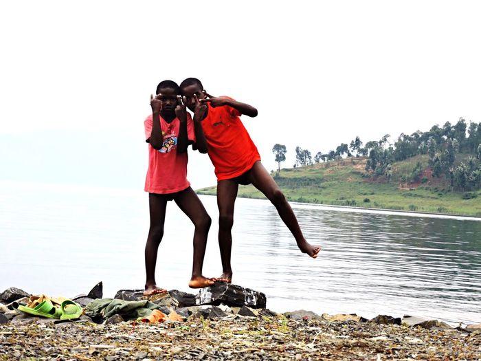 Family Cousins  Travel Kivu Lake Swimming Beautiful