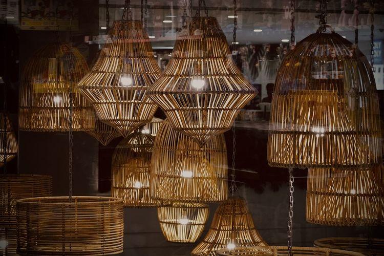 Close-up of illuminated lighting equipment at store