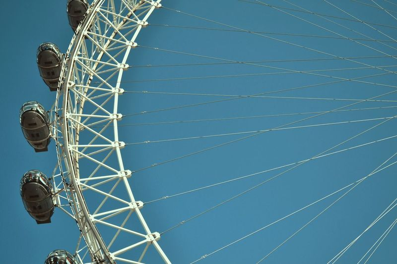 London Eye. Sightseeing London Eye Low Angle View Sky Built Structure Ferris Wheel Metal Outdoors Blue Clear Sky