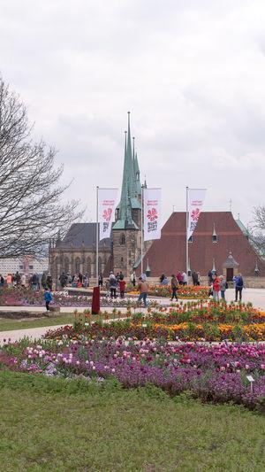 Group of people in park against buildings