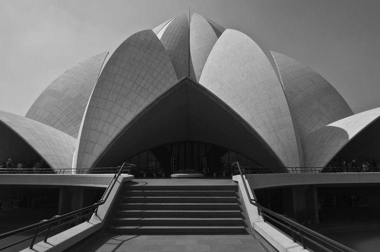 Architecture Building Exterior Built Structure City Day Futuristic India Indoors  Lotus Temple Modern People Real People Sky Travel Destinations