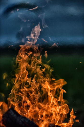Close-up of fire in water