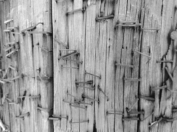 Full Frame Shot Of Stapler Pins On Wood