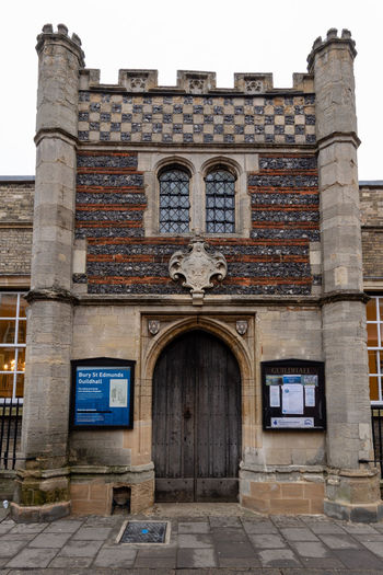 This building dates back to 1290 and has recently been restored. The Guildhall Old Buildings Old Building Exterior Architecture Built Structure Building Exterior Building History Entrance The Past Façade Historic Building Bury St Edmunds Suffolk, United Kingdom Ancient Architecture