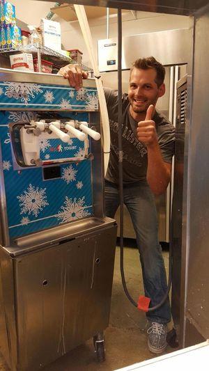 Saved. Frozen yogurt machine tonight. Offered free yogurt every Thursday now lol Frozenyogurt Icecream ♥ Smile Thumbs Up