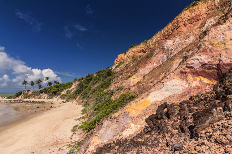 Praia de Tabatinga Beauty In Nature Blue Sky Day Landscape Nature No People Outdoors Palm Trees Praia Rock Formation Sand Scenics Sky Tranquility