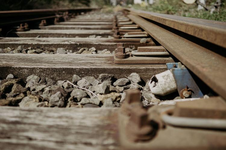 Close-up of abandoned railroad track