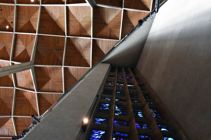 1960's Architecture Coventry Cathedral - UK Roof Abstract Architecture Close-up Day Design Illuminated Indoors  Looking Up No People Stained Glass Window The Graphic City