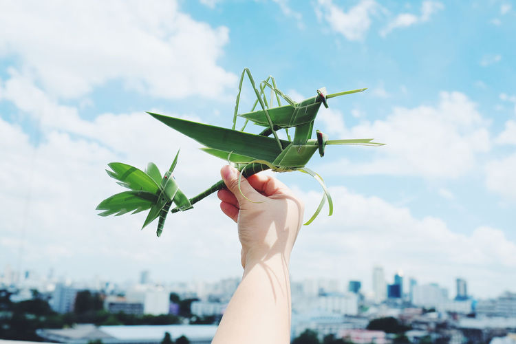 Cropped hand holding grasshoppers made from leaves against sky