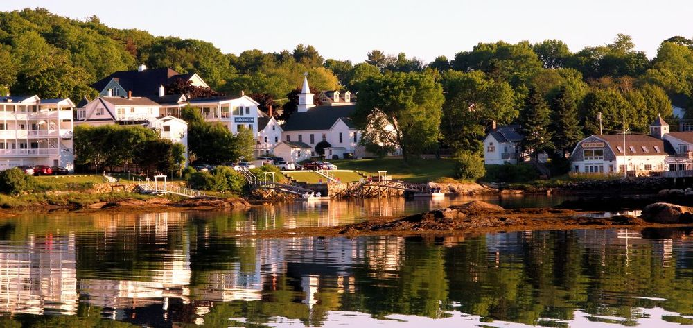 Boothbay Harbor Maine Architecture Beauty In Nature Building Exterior Built Structure Clear Sky Community Day House Lake Mountain Nature No People Outdoors Reflection Residential Building Sky Town Tree Water Waterfront