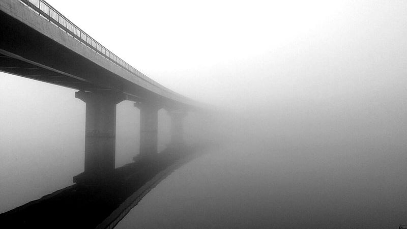 Bridge Black'n'white  Mysterious Dark Fog Sweden Lake
