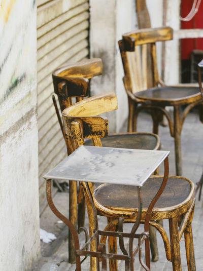 Empty Table And Chairs At Sidewalk Cafe