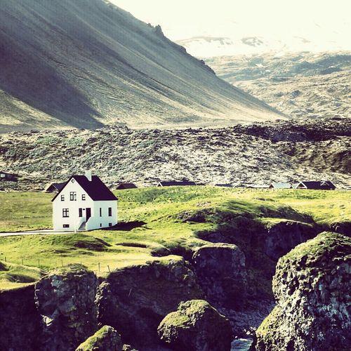 Former award winning photo at IG ... Remote house located in Arnastapi/Iceland ... House Lava Vulcano Glacier Shore Iceland Arnastapi Landscape