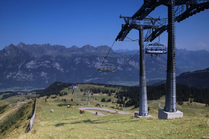 Travel through the sky Sky Travel Chairlift Chairlift View Cable Car Landscape Outdoors Nature No People Grass Mountain Sky