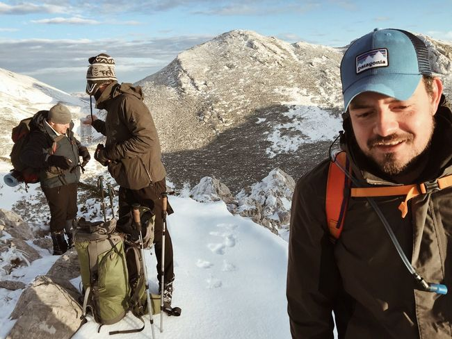 Equipment check at the heights of Paklenica National Park, Croatia, Nov, 2017. Cap Hat Patagonia Croatia Velebit Vaganski Vrh Hiking Winter Snow Cold Temperature Mountain Leisure Activity Real People Standing Warm Clothing Nature Backpack Beauty In Nature Lifestyles Outdoors