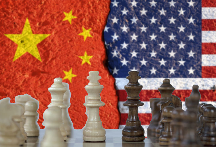 USA flag and China flag print screen on chess with white background.It is symbol of tariff trade war tax barrier between United States of America and China.-Image. Agreement America Barrier Battle Board Business Chess Chessboard China Commerce Competition Conflict Cooperation Crisis Deficit Depot Design Discussions Dispute Dollar Duty Economy Exchange Export Fear Finance Flag Government Import Investment Loss Negotiations Partnership Politic Relations RISK States Strategy Surplus Tariff Tax Trade Unfair United Us USA Vs War Wealth YUAN