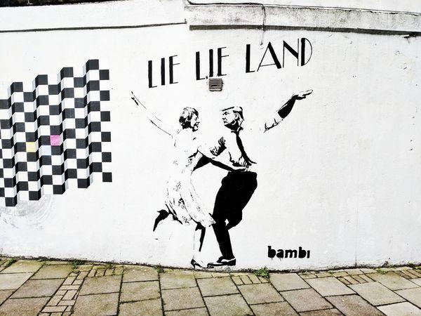 Political Graffiti in East London. La La Land Trump Trump Protest Trump Sign Protest Street Art Streetphoto_bw Streetart Graffitiporn Graffiti Photography Politics Liars Dance Satire