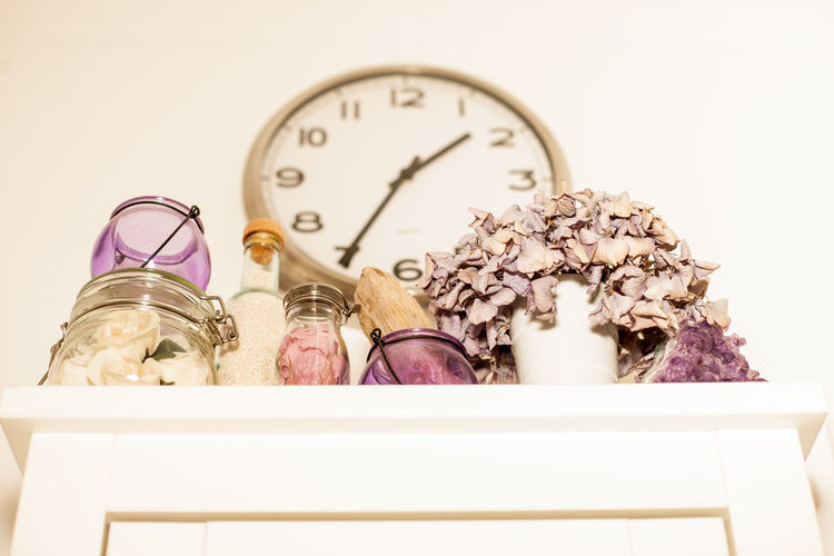 Time for wellness... Bathroom Chic Clock Close-up Day Decor Design EyeEm Best Shots Flowers Glass Indoors  Interior Design No People Popolari Shabby Time Violet Wellness Wisteria Colour The Architect - 2017 EyeEm Awards