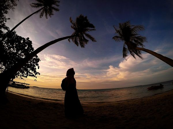 work less explore more because Indonesia it's very wonderful Travelling INDONESIA Explore Exploreindonesia Muslimah Muslimahfashion Muslimah Photography EyeEmNewHere Silhouette Beach Tree Sunset Sky Palm Tree Nature Outdoors Beauty In Nature Sea