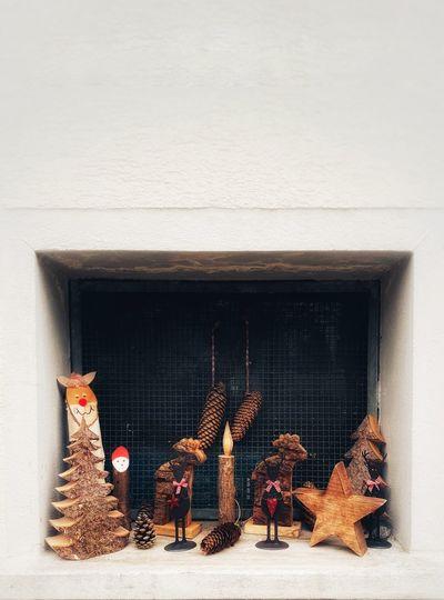 Panoramic view of christmas tree on wall