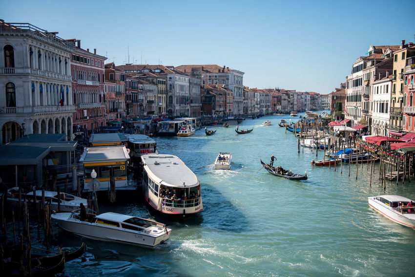 Venice, Italy Architecture Building Exterior Built Structure Canal Clear Sky Day Gondola Gondola - Traditional Boat Large Group Of People Mode Of Transport Moored Nature Nautical Vessel Outdoors People Real People Sky Transportation Travel Destinations Venice Water Wooden Post