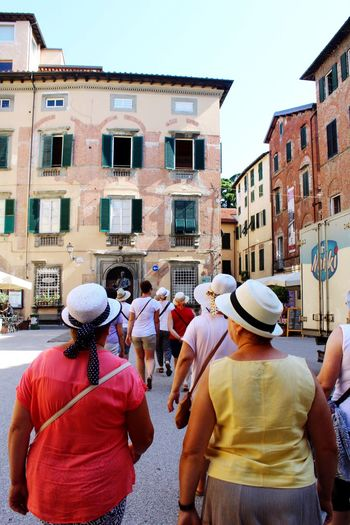 Tourists in Lucca Italy Lucca Lucca Italy Tourists Tourism Building Exterior Group Of People Architecture Built Structure Real People City Women Adult Large Group Of People Crowd Day Street City Life Walking Outdoors Lifestyles