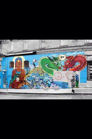 San Francisco China Town Murales Black And Colors