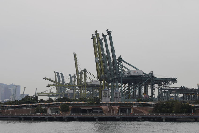 crane Container Port Container Terminal Container Crane Crane - Construction Machinery Water Sea Industry Business Finance And Industry Sky
