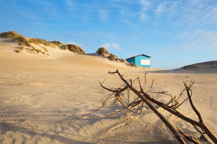 Arid Climate Beauty In Nature Blue Bluesky Climate Day Dead Plant Desert Environment House Hut Land Landscape Nature No People Non-urban Scene Outdoors Remote Sand Sand Dune Scenics - Nature Sky Sunlight Tranquil Scene Tranquility