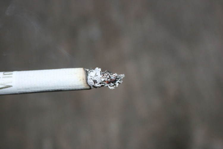 Close-up of cigarette smoking outdoors