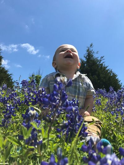 Love that giggle 🤭 Giggles Grandbabies Spring In Texas Bluebonnet Plant Flowering Plant Flower Sky Nature Growth Freshness