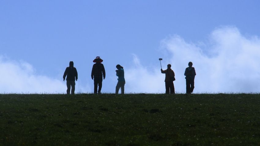 Group Of People Sky Real People Nature Silhouette Field Standing