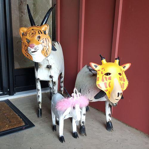 Multi colored animal sculpture