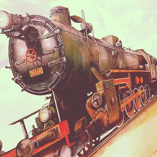 Buharli Tren Yagli Boya Calismasi Sivas Nostalji