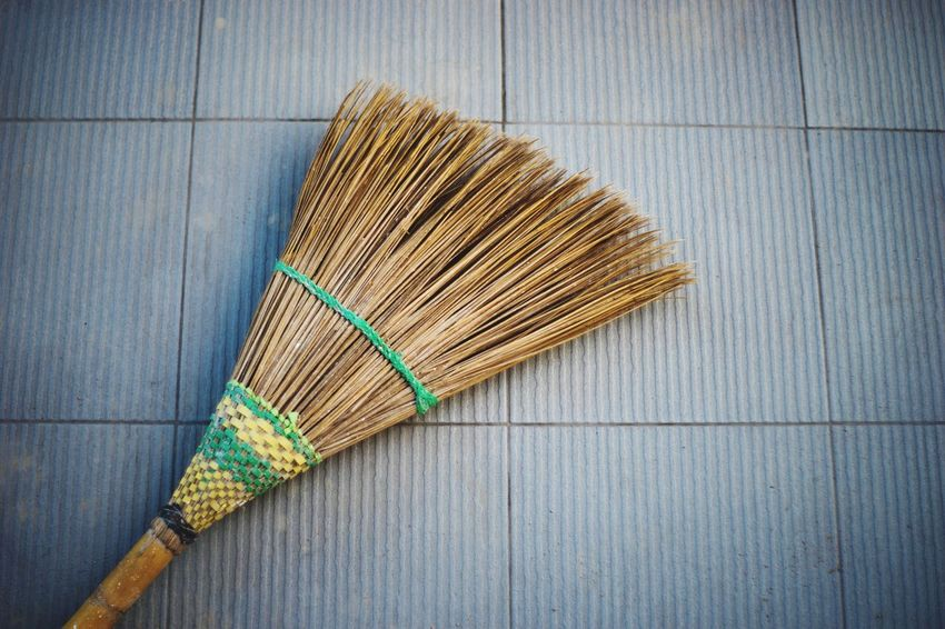Cleaning Broom Cleaning Sweeping Cleaning Equipment Housework Chores Wood - Material Indoors  High Angle View Hygiene No People Close-up Day