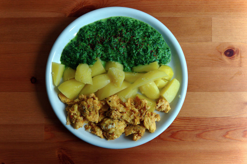 Top view of plate of potatoes, scrambled eggs, and spinach served on table