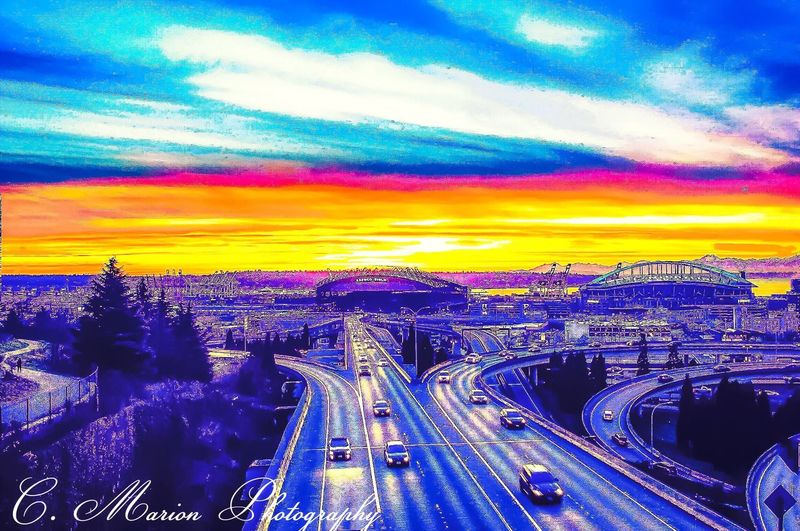 Seattle, Washington Beautiful City Sunset In The City  Where I Live View From The Bridge Cityscape Beautiful City Night