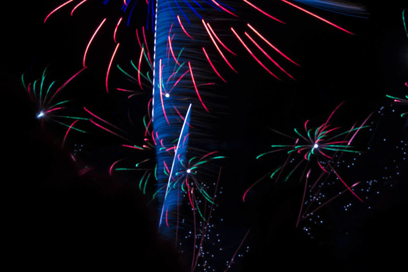 Arts Culture And Entertainment Blurred Motion Celebration Event Excitement Exploding Firework Firework - Man Made Object Firework Display Glowing Illuminated Light Light - Natural Phenomenon Lighting Equipment Long Exposure Low Angle View Motion Multi Colored Night Nightlife No People Sparks