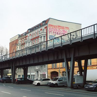 Architecture Berlin Photography Graffiti U1 Abstract Architecture Berlin Kidz Berliner Ansichten Berlinstagram Bridge - Man Made Structure Building Exterior Built Structure City Clear Sky Connection Land Vehicle Low Angle View Minimalism Mode Of Transport No People Outdoors Road Sky Skyporn Transportation