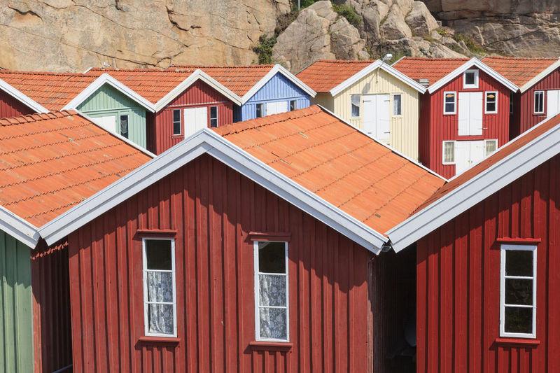 Colorful wooden sheds at smögen in sweden