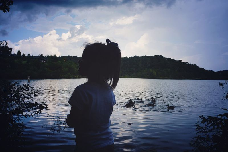 Edited with Polarr Photo Editor Water Sky Lake One Person Real People Beauty In Nature Leisure Activity Cloud - Sky Scenics - Nature Nature Lifestyles Tranquility Rear View Silhouette Child Waterfront Tranquil Scene Standing Childhood Outdoors