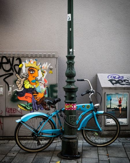 bycicle Multi Colored Bicycle City Stationary Wall - Building Feature Architecture Built Structure Bicycle Rack Parking Cycling Racing Bicycle Parking Sign Street Art Bicycle Basket Vehicle Graffiti Parking Lot Pedal