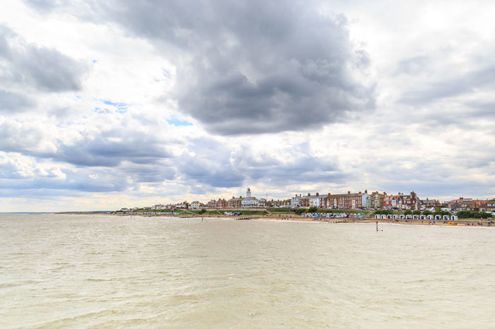 Southwold Seafront Architecture Dramatic Sky Lighthouse Travel Vacations Beach Clouds Seafront Southwold Suffolk Tourism Travel Destinations
