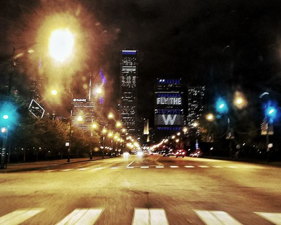City Transportation Car Street Illuminated Travel Night No People Land Vehicle Travel Destinations Road Outdoors Building Exterior Architecture Tree EyeEm Chicago Scout Chicago Cubs Flythew W Cubbies Worldseries2016 Columbus Drive Downtown Downtown Chicago